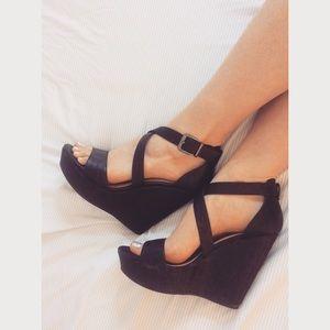 Black Strappy Wedge Heel